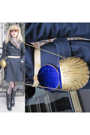 black rosette Valentino boots - navy wool vera wang lavender label coat - gold e