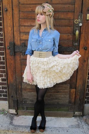blue shirt - beige D&G skirt - beige Deena & Ozzy belt - black tights - brown la