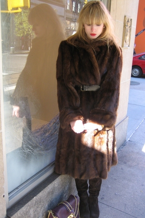 brown Vintage Bloomingdales coat - black Betsey Johnson belt - white Chanel earr