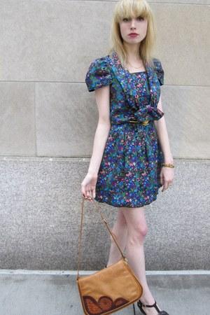 blue flower Anna Sui dress - tawny leather vintage astauts colomras bag - gold b