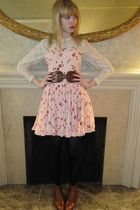 white vintage raynas blouse - pink Rebecca Taylor dress - brown linea pelle belt