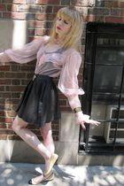 pink vintage blouse - black Hanes top - black Joie skirt - gold necklace - gold