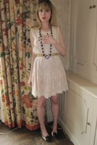 peach lace Anna Sui dress - black jeweled Miu Miu necklace - beige charm vintage