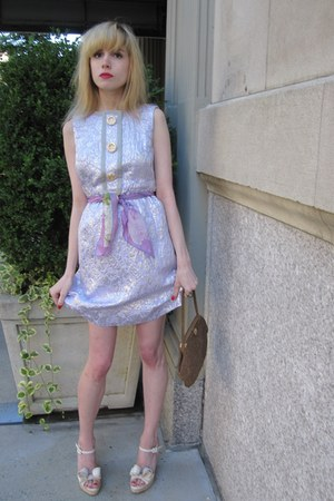 light purple brocade Marc Jacobs dress - amethyst silk vintage una scarf - bronz