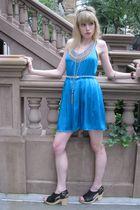 blue 31 phillip lim dress - white Vintage costume necklace - white Vintage costu