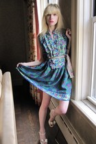 blue berry Anna Sui dress - heather gray plaid vintage anne klein scarf