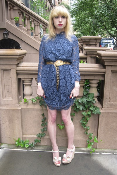 navy lace Carven dress - gold buckle vintage belt - ivory pearl vintage ring