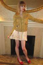 beige Ralph Lauren jacket - beige Blumarine skirt - red Chanel shoes