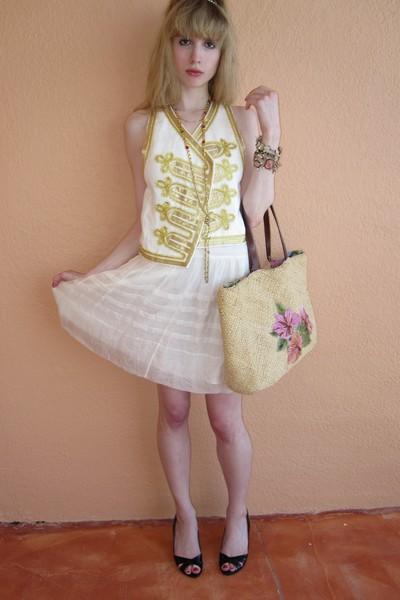 white 31 phillip lim vest - white Ralph Lauren skirt - gold Vintage costume neck