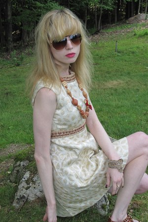 ivory brocade Vintage Vogue Paris Original dress - brown parrot vintage necklace