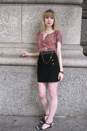 red Anna Sui blouse - black 31 phillip lim skirt - gold vintage necklace - black