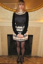 black sweater - blue 31 phillip lim dress - brown vintage belt - black tights -