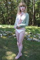 white Ella Moss swimwear - green maya cardigan - orange vintage scarf