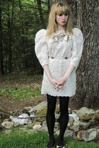 white Jill Stuart dress - silver Fenton-Fallon necklace - white Vintage costume