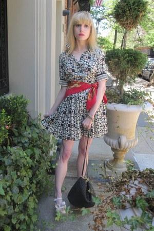 black poker Anna Sui dress - ruby red silk vintage chanel scarf - black lattice