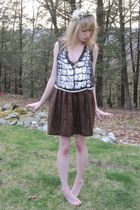 silver 31 phillip lim blouse - pink milly top - brown vintage Gloria Sachs skirt
