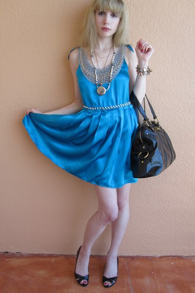 blue silk 31 phillip lim dress - black muse YSL purse