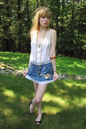 white Victorias Secret dress - blue Levis skirt - white vintage necklace - brown