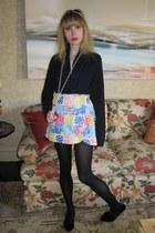 navy cashmere Ralph Lauren cardigan - eggshell patchwork Lilly Pulitzer skirt -