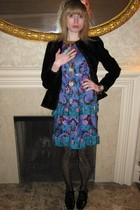 black vintage Gloria Sachs jacket - blue Anna Sui dress - gold vintage necklace