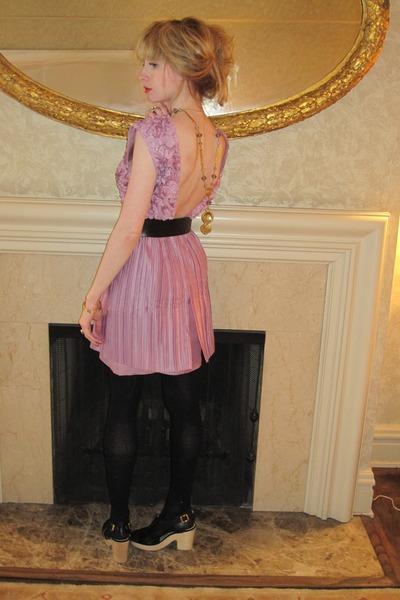 violet backless 31 Phillip Lim dress - gold locket vintage necklace - black buck