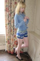 sky blue chambray JCrew shirt - blue fair isle Urban Outfitters shorts