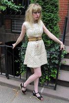 white Vintage Vogue Paris Original dress - black vintage belt - gold vintage nec