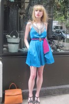 turquoise blue jeweled 31 Phillip Lim dress - hot pink silk vintage echo scarf