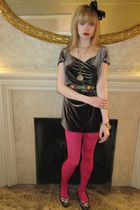 gray velvet Armani collezioni dress - pink butterfly Betsey Johnson tights