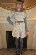 blue Ralph Lauren sweater - yellow Vintage Albert Nipon dress - gray vintage sak