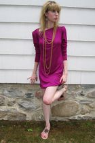 pink Vintage Jonathan Hitchcock for Reuben Thomas dress - purple earrings - gold