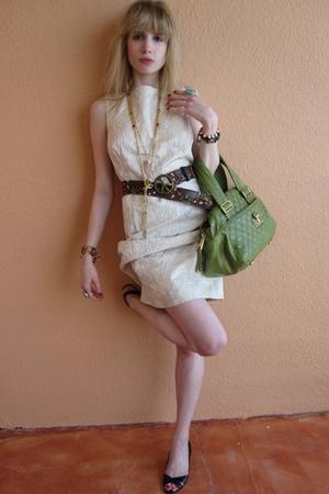 white Armani collezioni dress - brown Lake Shore Drive belt - gold Vintage costu