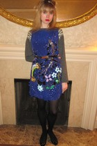 gray Brunello Cucinelli sweater - blue Anna Sui dress - silver calvin klein belt