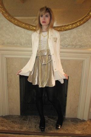ivory velvet Anna Sui dress - ivory pearl vintage necklace - tawny leather vinta