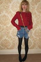 ruby red cableknit ADAM sweater - eggshell shearling JCrew bag - sky blue jean L