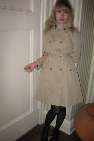 Valentino Red coat - costume earrings - tights - delman shoes