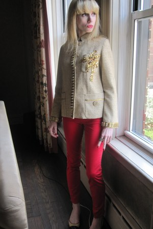 gold palm tree Marc Jacobs jacket - ruby red skinny J Brand jeans
