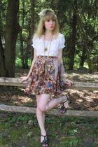 white vintage blouse - beige Synonyme de Cearces Rech Paris skirt - pink vintage