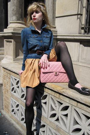 blue jacket - beige 31 phillip lim skirt - purple belt - white Chanel earrings -