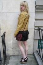 black ruffled 31 Phillip Lim dress - camel leather Ralph Lauren jacket - deep pu