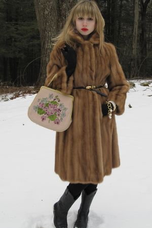 brown vintage Flemington Furs coat - black Kenneth Jay Lane belt - purple earrin
