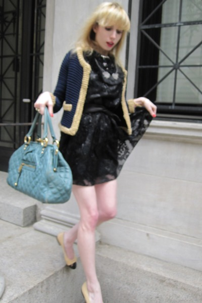 black lion Anna Sui dress - periwinkle stam Marc Jacobs bag - dark brown leather