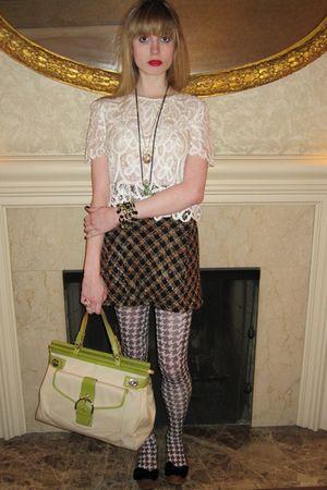 white 31 phillip lim blouse - brown Betsey Johnson skirt - gold vintage necklace