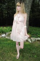 pink milly dress - silver vintage necklace - white necklace - white vintage brac