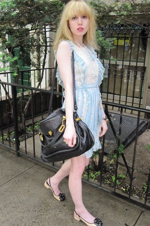 sky blue ruffled Anna Sui dress - light blue Blank bag - black paraty capsule Ch