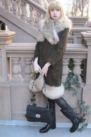 black rosette Valentino boots - dark brown suede vintage coat - silver fur H&M s