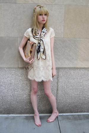 ivory crochet cynthia steffe dress - nude feather vintage hat - eggshell silk So