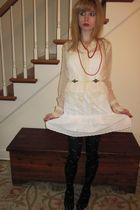 beige vintage blouse - white Juicy Couture dress - white Vintage costume necklac