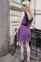 amethyst flower Anna Sui dress - forest green leather Jil Sander bag - gold wrea
