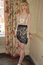 eggshell doll Anna Sui blouse - black lace 31 Phillip Lim skirt - gold chain vin